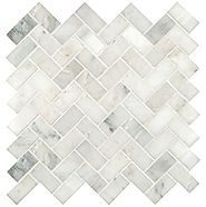 Greyish White Herringbone Pattern Honed Marble Mesh-Mounted Mosaic Tile (sample)