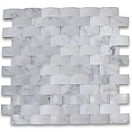 Carrara White Italian Carrera Marble 3D Cambered Curved Arched Mosaic Tile 1x2 Brick Honed