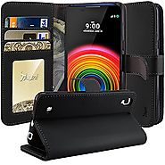 LG X Power Case, TAURI [Stand Feature] Wallet Leather Case with Stand, ID & Credit Card Pockets Flip Cover Protective...