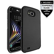 LG X Venture Case / LG X Calibur Case With Tempered Glass Screen Protector,IDEA LINE(TM) Heavy Duty Protection Hybrid...