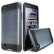 LG X Power Case, LG K6P Case With TJS Tempered Glass Screen Protector Included, Dual Layer Shockproof Hybrid Armor Dr...