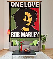 Bob marley one love green and red hippie wall tapestry