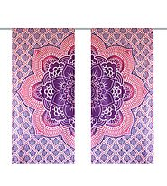 Purple and light orange hippie tapestry curtain