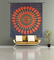 Vibrant colored mandala wall hanging tapestry