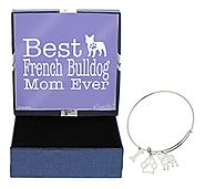 Mother's Day Gifts Best French Bulldog Mom Ever Bracelet Gift Love Dog Breed Silhouette Adjustable Bangle Charm Silve...