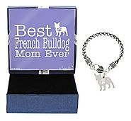 Mother's Day Gifts Best French Bulldog Mom Ever French Bulldog Bracelet Gift Silhouette Charm Bracelet Silver-Tone Br...