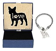Mother's Day Gifts French Bulldog Bracelet Gift Love Dog Breed Silhouette Charm Bracelet Silver-Tone Bracelet Gift fo...