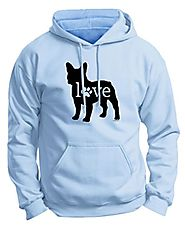 Dog Owner Gifts French Bulldog Love Dog Paw Prints Premium Hoodie Sweatshirt 2XL LtBlu