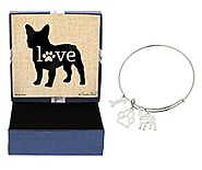 Mother's Day Gifts French Bulldog Bracelet Gift Love Dog Breed Adjustable Bangle Charm Silver-Tone Bracelet Gift for ...
