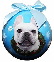"""French Bulldog White Christmas Ornament"" Shatter Proof Ball Easy To Personalize A Perfect Gift For French Bulldog Lo..."