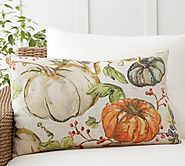 Watercolor Painted Pumpkin Patch Indoor/Outdoor Lumbar Pillow