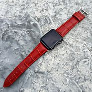 Deep Red Croc-Embossed Apple Watch Band - Strapped & Co