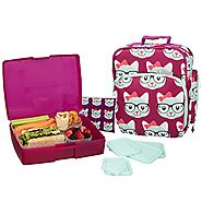 Bentology Lunch Bag and Box Set for Girls - Includes Insulated Bag with Handle, Bento Box, 5 Containers and Ice Pack ...