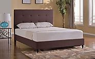 Home Life Cloth Brown Linen Headboard Platform Bed
