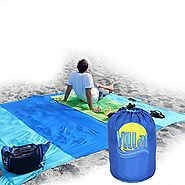 Huge 9 x 8 Outdoor Compact Picnic / Beach Blanket – Strong Water Resistant Ripstop Nylon - Sand Free Best for Picnic,...