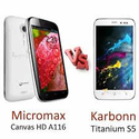 Karbonn S5 Titanium vs. Micromax Canvas : Review