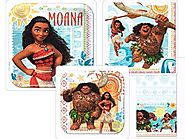 Disneys Moana Party Supplies Pack Including Plates, Napkins and Tablecover for 16