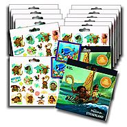 DISNEY MOANA Stickers Party Favors - Bundle of 2 Sticker Packs - 12 Sheets 240+ Stickers plus 2 Specialty Stickers!