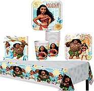 Disney Moana Party Supplies Pack for 8 Guests - Lunch Plates, Dessert Plates, Lunch Napkins, Cups, and a Table Cover