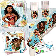 "Disney Moana Birthday Party Pack (Cups, Tablecover, Plates, Napkins) 16 PACK by ""ANOTHER DREAM"""