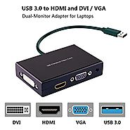USB 3.0 to HDMI-VGA-DVI Monitor External Video Card Adapter,Rongyuxuan Monitor Outputs HDMI DVI-D and VGA,Support Via...