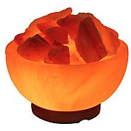 IndusClassic LFB-04 Fire Bowl Himalayan Crystal Rock Salt Lamp Ionizer Air Purifier 6~9 lbs / UL Listed Cord and Dimm...