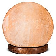 Himalayan Hand Carved Salt Lamp - Sphere Shaped Lamp with Wood Base, Electric Wire and Bulb included 12 Cm