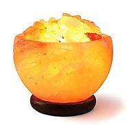 HemingWeigh Hand Crafted Rock Salt Bowl Lamp with Himalayan Salt Chips, Wood Base, Electric wire & Bulb