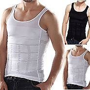 Frogwill Mens Posture Correction/support/pain Relief Slimming Body Vest Shirt (L, Black-new)