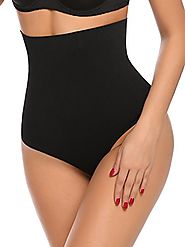 Yulee Women's Thong Shapewear Waist Cincher Butt Lifter Tummy Control Panty,Black,Large