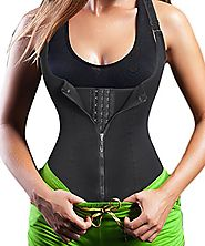 Eleady Women's Underbust Corset Waist Trainer Cincher Steel Boned Body Shaper Vest with Adjustable Straps (M, Black)