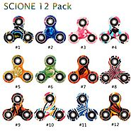 Fidget Spinner 12 Pack ADHD Stress Relief Anxiety Toys Best Autism Fidgets spinners for Adults Children Finger Toy wi...