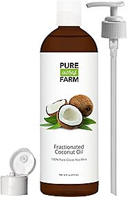 Fractionated Coconut Oil (Liquid) - Large 16oz - WITH PUMP + FREE Recipe eBook! - Use with Essential Oils and Aromath...