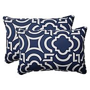 Pillow Perfect Indoor/Outdoor Carmody Corded Oversized Rectangular Throw Pillow, Navy, Set of 2