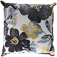 Cortesi Home Oppy Decorative Square Accent Pillow, Blue Flower