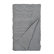Burt's Bees Baby - Cable Knit Stroller Blanket, 100% Organic Cotton (Heather Grey)