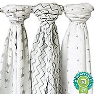 Ziggy Baby Muslin Baby Swaddle Blankets, 48x48 (3 Pack) Chevron, Arrow, Cross, Grey/White