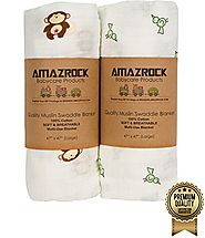 Amazrock Baby Muslin Swaddle Blanket - Soft 100% Cotton | 2 Large Baby Swaddle Blankets for Quality Comfort & Sleep |...