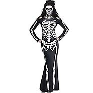 Skeleton Costume Dress with Long Sleeves Scary Ghost Suit for Halloween Party Show