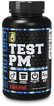 TEST PM Night Time Testosterone Booster and Sleep Aid Supplement for Men | Premium 5:1 Ashwagandha Root, L-Theanine, ...