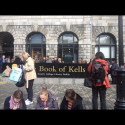 """#thinktankontheroad #TheBookOfKells Outside the TCD building today"""