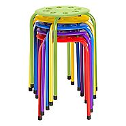 "Norwood Commercial Furniture NOR-1101AC-SO Plastic Stack Stools, 17.75"" Height, 11.75"" Width, 11.75"" Length, Assorted..."