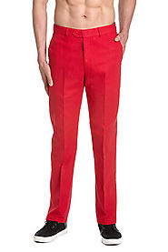 Linen Men's Dress Pants Trousers Flat Front Slacks RED CONCITOR