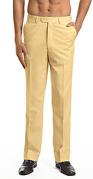 Men's Dress Pants Trousers Flat Front Slacks GOLD Color CONCITOR