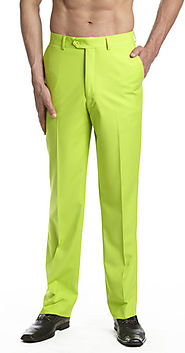 Men's Dress Pants Trousers Flat Front Slacks LIME GREEN CONCITOR
