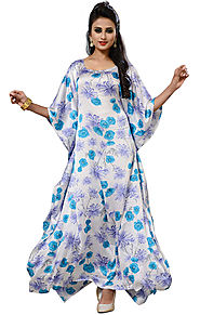 Charming Off White Printed Beautiful Kaftan With Square Neck