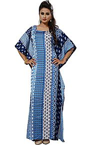 Buy Devastating Square Necked Printed Boutique Style Kaftan In Satin