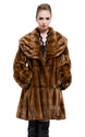 Faux brown mink fur with lotus leaf collar middle fur coat