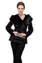 Black suede with faux beaver fur large collar and hat short suede coat