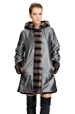 Silver waterproof fabric with faux chinchilla fur reversible coat